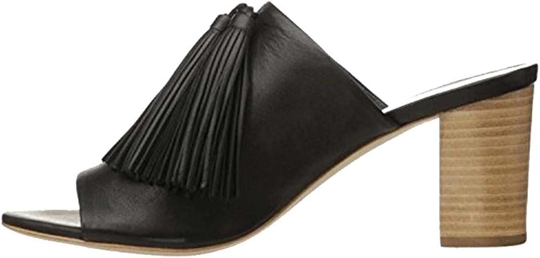 Women's Black Tassel Open Toe High-Heeled Slippers Comfortable Thick Heel Sandals(Heel Height  9.5cm)