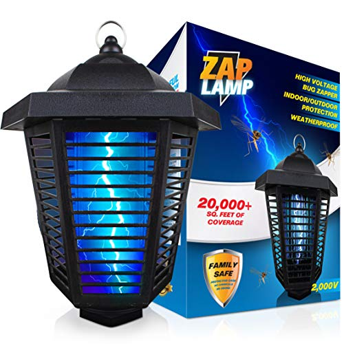 Livin' Well Zap Lamp Bug Zapper - 2000V High Powered Electric Mosquito Zapper Insect Trap with 20,000+ Sq. Feet Range and 20W UV Mosquito Killer Bulb