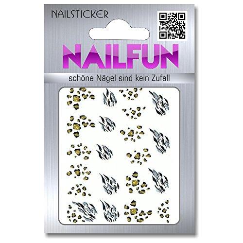 1 Bogen Leopard Tiger Sticker BLE881D [E-043] Glitzer Nailsticker selbstklebend Nailart