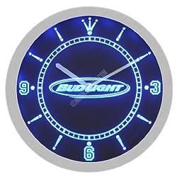 Bud Light Beer Neon Sign Bar Wall Clock - Blue