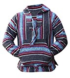 Del Mex Mexican Baja Hoodie Hippie Surf Poncho Sweater Sweatshirt Pullover Jerga (X-large, Multi-Colored Charcoal)