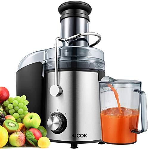 AICOK Licuadoras para Verduras y Frutas Extrae Rápidamente Varios Jugos de Frutas y Vegetales, Diámetro Grande de 75mm, Fácil de Limpiar, con 2 Controles de Velocidad, Libre de BPA y Diseño Antigoteo