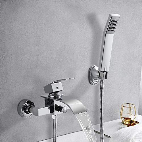 Elegant Badewannenarmatur Wasserfall mit Brause, Mischbatterie Badewanne Armatur inkl. Wandhalterung mit Handbrause für Badezimmer Dusche, Hochwertiger Messingkörper, Lebenslange Garantie
