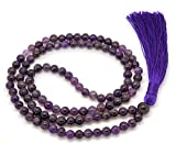Givereldi Ametista collana di perle di mala 108 perle di 6 mm di larghezza - seduta schiena contro schiena più 1 grossa perla di guru - collana di preghiera, meditazione o nappa