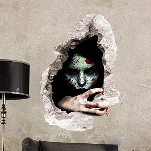3D Wandaufkleber 3D Wandaufkleber Halloween Horror View Bloody Ghost 3D Wandtattoo Wallpaper 3D Selbstklebende Vinyl Wandaufkleber/Wandkunst Aufkleber Wanddekoration für das Kinderzimmer