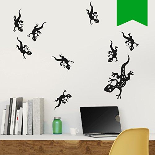 Wandkings Wandtattoo Geckofamilie, 9 Geckos im Set 40 x 28 cm gelbgrün - erhältlich in 33 Farben