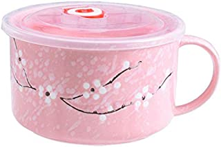 Ceramic Bowl with Lid, Japanese Style Microwavable Ceramic Noodle/Soup Bowls Lid with and Handles (Pink)