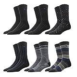RioRiva In confezione regalo le calze da uomo con strisce in cotone 90%, simpatico motivo di design a metà polpaccio, stile colorato (#122-6P, XL: EU 47-50)