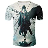 XJXTX Camisetas 3D Cuello Redondo Camisa Manga Unisex Corta Naruto Uchiha Sasuke L