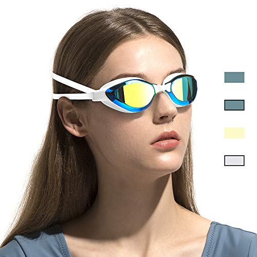 COPOZZ Swimming Goggles, No Leaking Racing Swim Goggles for Adult Men Women Youth, Anti Fog UV Protection Lenses, Soft Silicone Frame and Strap, Interchangeable Nose Bridges (3910-Gold Mirror Lens)