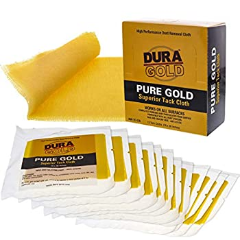 Dura-Gold - Pure Gold Superior Tack Cloths - Tack Rags  Box of 12  - Woodworking and Painters Professional Grade - Removes Dust Sanding Particles Cleans Surfaces - Wax and Silicone Free Anti-Static