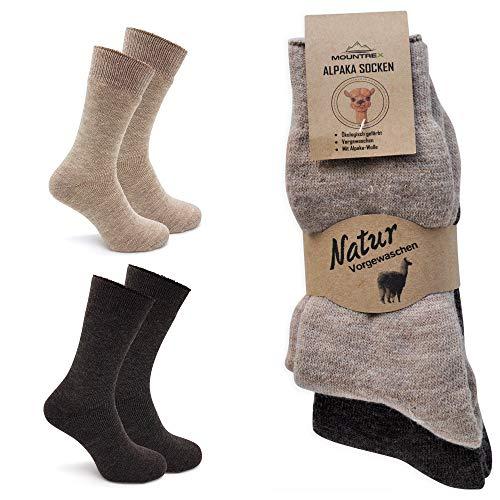 MOUNTREX Alpaka Socken, Wollsocken für Damen, Herren - Wintersocken, Haussocken - 90% Wolle, 10% Polyamid - 2 Paar, Beige/Braun (Dick Thermo), 39-42