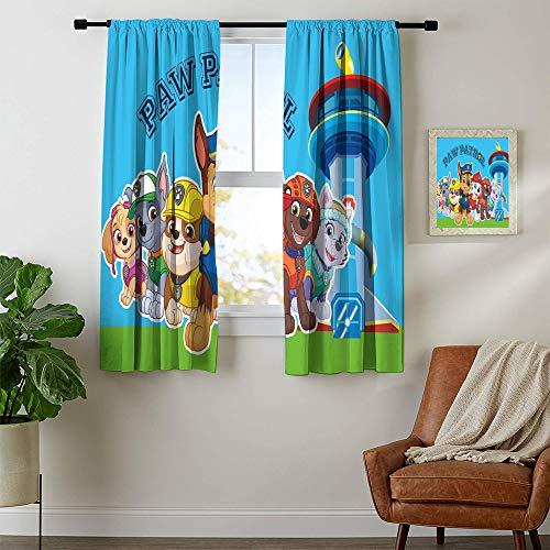 DILITECK - Cortinas opacas para oscurecer habitaciones de la Patrulla Canina para recámara, impresión para cortinas de ventana, cenefas de 132 x 213 cm