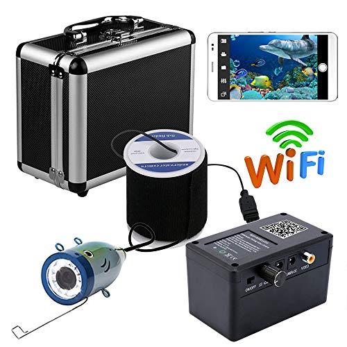 QZH Cámara de Pesca submarina WiFi, Kit de cámara de buscador de Peces a Prueba de Agua, buscador de Peces inalámbrico, Soporte para Foto de Vista de teléfono móvil, para Pesca en mar o río,30mcable