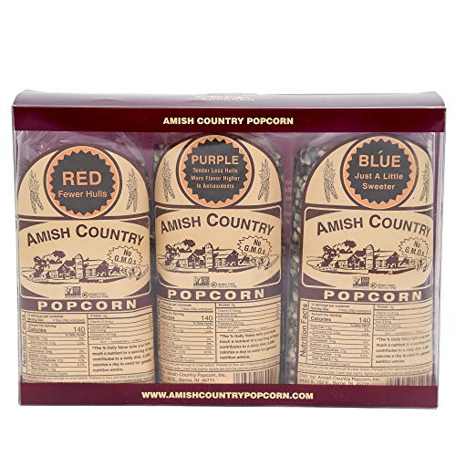 Fantastic Prices! Amish Country Popcorn | 3 (1 Lb Variety Gift Set) - Red, Purple & Blue Kernels | O...