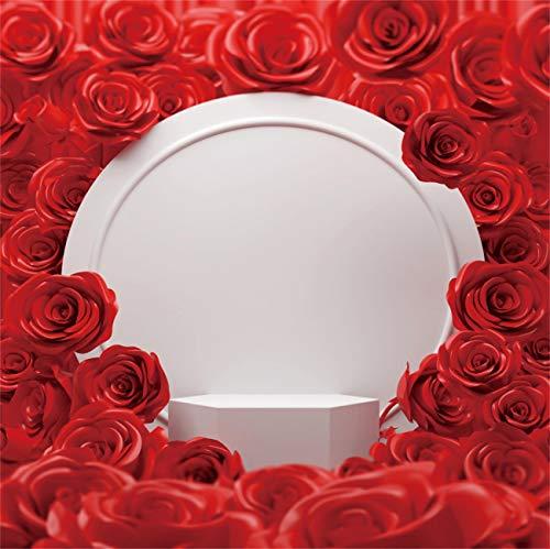 YEELE 10x6.5ft Girl Newborn Baby Photography Backdrops Pink Red Roses Flowers Wall Wedding Shower Photo Background Kids Adutls Birde Portrait Photo Shoot Props Vinyl Wallpaper