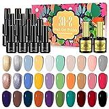 32Pcs Gel Nail Polish Kit, 30 Colors Soak Off UV LED Gel Polishes with Base Coat & Glossy Top Coat, DIY Manicure Nail Art Starter Kit Beauty Gift Sets for Starter or Beginner Manicure Nail Art Salon