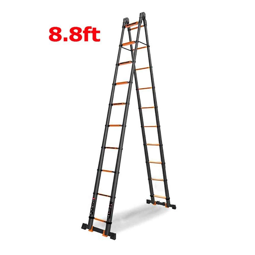 Escaleras Telescópicas Multifunción Escalera telescópica plegable de aluminio de 8.8 pies, Escalera de extensión loft multiusos alta para uso en el hogar de bricolaje, capacidad de 330 lb: Amazon.es: Bricolaje y herramientas