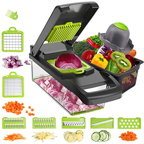 Mandoline Vegetable Chopper Slicer, Onion Chopper Slicer with Container, 7 in 1 Chopper Dicer Kitchen Cutter for Carrots, Cabbage, Potato, Garlic, Tomato, Fruit, Salad (Grey)