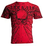 Affliction  Archaic Men T-Shirt Collision Wings Skull Motorcycle Biker (X-Large) Black