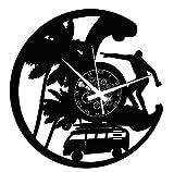 Instant Karma Clocks Orologio in Vinile da Parete Disco Mare Vacanze Viaggio Surf, Nero