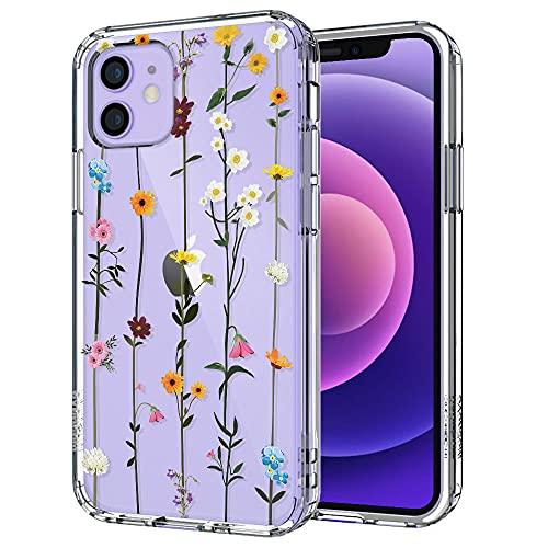 MOSNOVO iPhone 12 Pro Hülle, iPhone 12 Hülle, Wildblume Floral Blumen Muster TPU Bumper mit Hart Plastik Hülle Durchsichtig Schutzhülle Transparent für iPhone 12 Pro/iPhone 12 6.1 Zoll