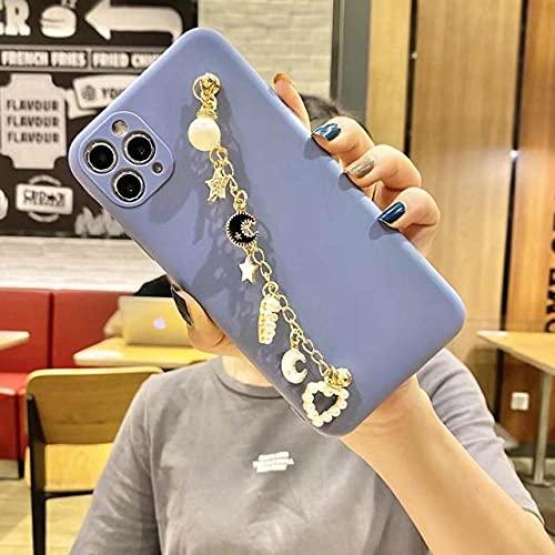 DEIOKL Lujo Metal Gypsophila Pearl Love corazón Pulsera Pulsera Cadena Funda Suave para teléfono para iPhone 11 12Pro X XR XS MAX 7 8 Plus Funda, 1, para iPhone 8