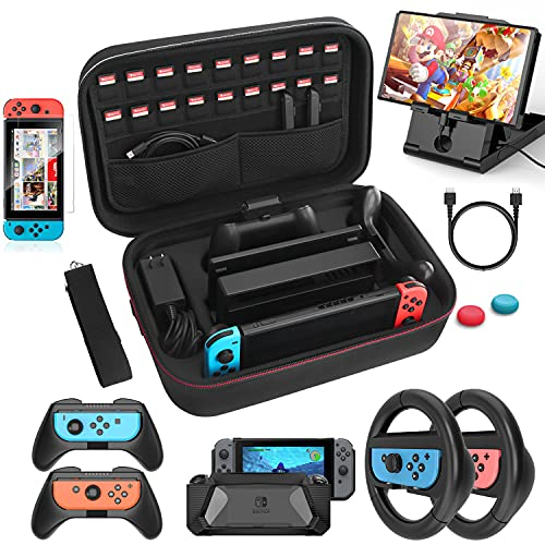 Case & Accessories Kit Compatible with Nintendo Switch, 12 in 1 Carry Case, PlayStand, Grip Steering Wheel, Grip, Screen Protector, Protective Case Cover, Thumb Grips (Black)