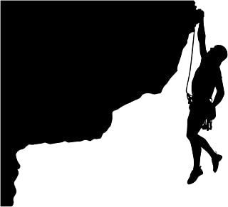 Rock Climbing Wall Decal Sticker 20 - Decal Stickers and Mural for Kids Boys Girls Room and Bedroom. Mountain Climbing Climber Wall Art for Home Decor and Decoration - Rock Climber Silhouette Mural