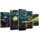 Biuteawal 5 Piece New York City Canvas Wall Art Manhattan Starry Night Skyline Painting Print on Canvas Modern Home Office Living Room Wall Decoration Gallery Wrapped 60x32inch
