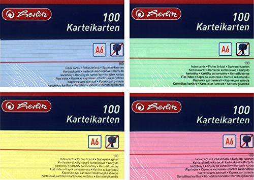 Herlitz Karteikarten A6, Liniert (1200 Stück, Farbig Sortiert in Grün, Gelb, Rot & Blau)