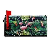 Buzón cubre flamencos magnéticos en hojas tropicales de correo envolturas impermeables para correo, decoración de jardín, tamaño estándar