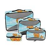 Bolsa de Almacenamiento Starfish Sand Sea Nature Sky Fashion Multifunción Embalaje de 4 Piezas Organizador de Viajes Cubos Set