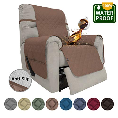 Easy-Going Sofa Slipcover Recliner Cover Waterproof Couch Cover Furniture Protector Sofa Cover Pets Covers Whole Fabric No Stitching Non-Slip Fabric Pets Kids Children Dog Cat (Recliner,Brown)