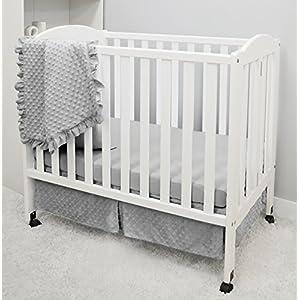 American Baby Company Heavenly Soft Minky Dot 3-Piece Mini/Portable Crib Bedding Set, Grey, for Boys and Girls
