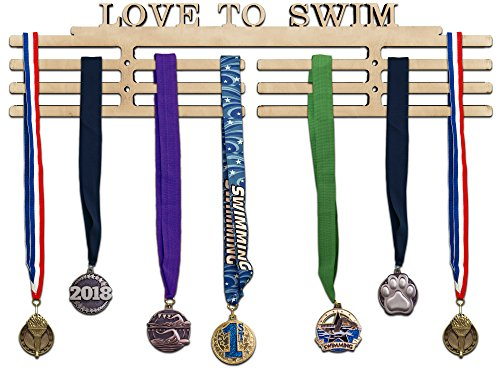 Arena Gifts Swimming Medal Hanger Display - Paintable Wooden Awards Holder Sports Rack for Swim Races - Displays Up to 24 Hanging Medals or Ribbons - Sturdy Wall Mount, Easy to Install