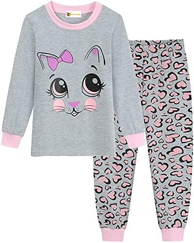 MOLYHUA Pijama para niña, diseño de unicornio, mariposa, abeja, gato, pijama largo para niños, pijama de Navidad 92, 98, 104, 110, 116, 122, 04 cat (gris), 110 cm