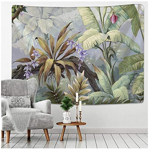 BD-Boombdl Tapiz de árbol Tropical Palmera Colgante de Pared Patrón de Flores Tapiz de Pared de Playa Fondo de Animal Alfombra de Revestimiento de Paredes 200X150 cm