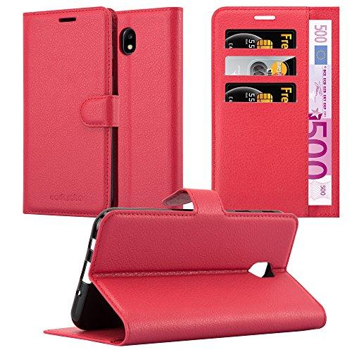 Cadorabo Funda Libro para Samsung Galaxy J7 2017 en Rojo CARMÍN - Cubierta Proteccíon con Cierre Magnético, Tarjetero y Función de Suporte - Etui Case Cover Carcasa