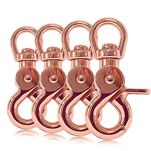 Ganzoo Scheren-Karabiner Haken mit Dreh-Gelenk/Dreh-Kopf für Hunde-Leine/Hals-Band 4er Set, legierter Stahl 61 mm Länge, auch für Paracord 550 / Schlüssel-Anhänger, Farbe: roségold