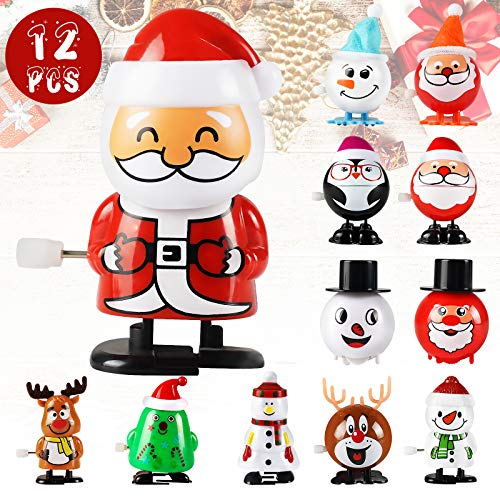 Wind-Up Toys Christmas Toys Prizes - 12 Pack Small Toys for Kids, Assorted Mini Christmas Toy Gifts For Kids, Party Favors for Boys Girls Children, Santa, Reindeer, Snowman (Christmas Wind-Up Toys)