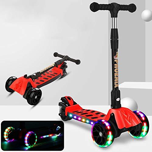 Lihgfw Pieghevole Ammortizzatore a Quattro Ruote Scooter Bambini Wheel Flash, Altezza Regolabile, Adatto a Ragazzi e Ragazze 3-10 Anni (Color : Rosso)