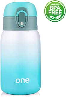 Mini Water Bottle for Kids& Adult, Vacuum Insulated Bottle, Travel Coffee Cup, Stainless Steel Thumbler Ombre Bottle, Gradient - 9oz (Green-white)