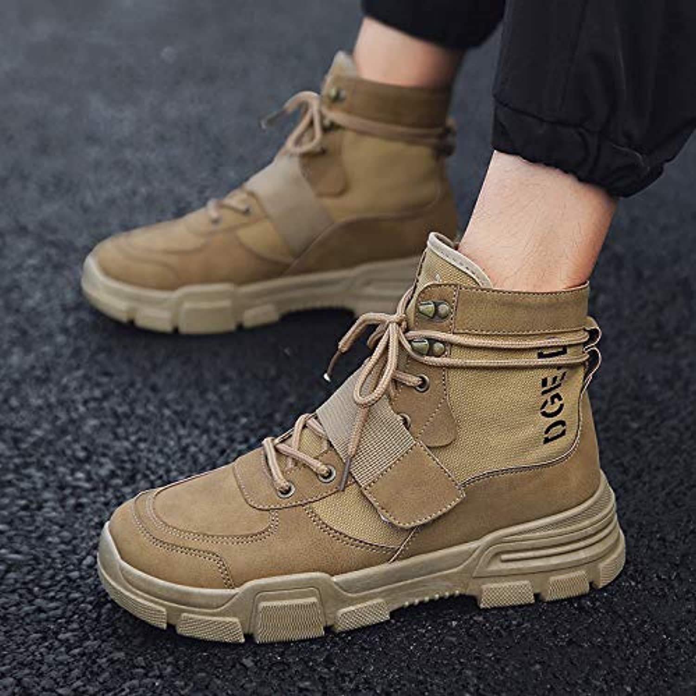Shukun Men's boots Martin Men'S Boots Autumn High Cotton Warm Men'S shoes Desert Boots To Help Winter Tooling Cotton shoes