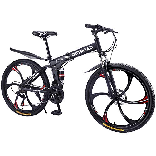 Max4out Mountain Bike Folding Bikes, Featuring 6 Spoke 21 Speed Shining SYS Double Disc Brake Fork...