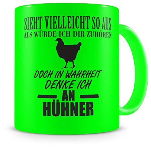 Samunshi® Tasse mit Hühner Spruch - Keramik Huhn Henne Geschenk für Mann Frau Oma oder Opa Kaffeetasse groß Lustige Tassen zum Geburtstag witzige Teetasse XX H:95mm/D:82mm neon grün