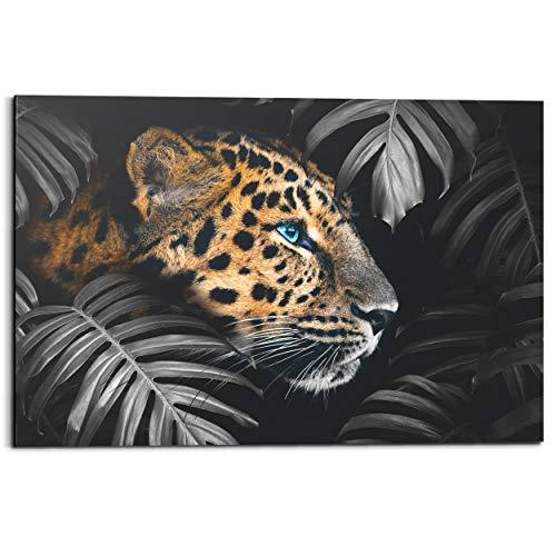 Schilderij Deco Panel Luipaard Jungle - Planten - 90 x 60 cm