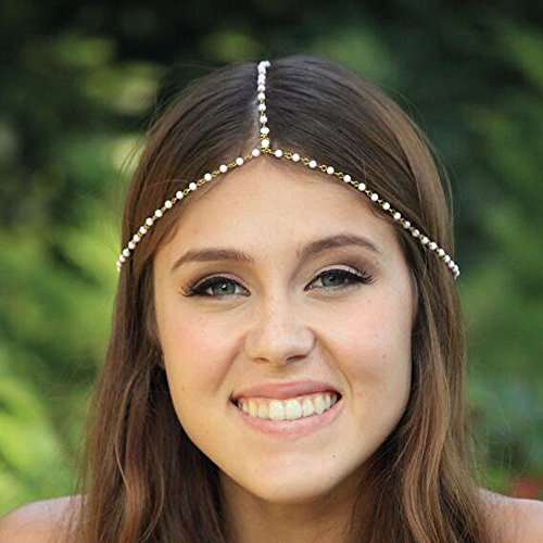 Handmadejewelrylady Chaîne de tête tendance en métal et strass pour femme