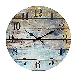 Stonebriar Vintage Farmhouse Wooden 14 Inch Round Battery Operated Hanging Wall Clock, Multicolor