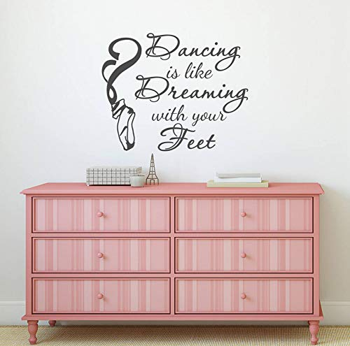 xbwy Dance Wall Decal Dancing is Like Dreaming with Your Feet Saying Wall Sticker Dancer Ballet Pointe Shoes Vinyl Decal42X34Cm